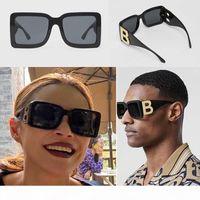 Lujo- 2020 nueva temporada femenina diseñadora gafas de sol marco cuadrado marco grande doble b letras patas estilo de moda simple UV400 gafas E4312