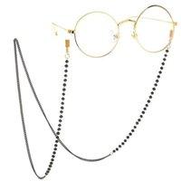 Cadena Collar de cordón de metal Beads Gafas de sol Gafas negras Moda Cristal