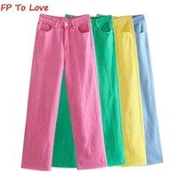 FP для любви ZA женщина винтажная широкая нога брюки джинсы розовый зеленый синий желтый осенний весна улица поступления брюки 210809