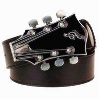 Fashion belt Retro guitar buckle Street music Dance accessories Ukulele Performance apparel hip hop waistband novel belt 210310