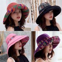 Wide Brim Hats Fashion Sun Outdoor Casual Fisherman Cap Boho Bucket Hat Women Double-Sided Beach