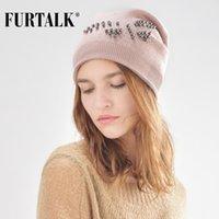 قبعة / جمجمة قبعات furtalk الفراء الشتاء قبعة للنساء الصوف قبعة القبعات الفتيات مع لؤلؤة فراشة B004