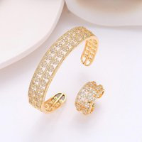 Earrings & Necklace Women's Bracelet Ring 2Pcs Set Zircon Flower Design Hollow Out Exquisite Jewelry Accessory Sweet Gift