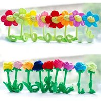 Artificial Plush Sunflower Daisy Flower Toy Bendable Curtain Buckle Tiebacks Birthday Wedding Party Gift Decor Fairy Wands Stick Performance Props Novelty School