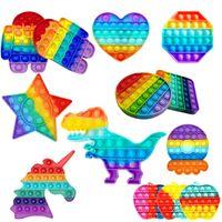 Push Pop Fidget Jouet Rainbow Bubble Sensory Autisme Spécial Besoins Spéciales Stress Stress Scènez Jouet sensoriel pour enfants Famille DHL Livraison rapide