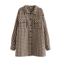 Women's Jackets TRAF Women 2021 Fashion Checked Oversized Loose Pocket Coat Vintage Long Sleeve Shirt Style Outerwear Streetwear