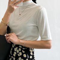 Women's T-Shirt Summer Korean Half High Collar Solid Modal Short Sleeve Pullover Fashion White Balck Tops Female