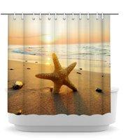 여름 해변 샤워 커튼 열 대 바다 바다 불가사리 목욕 커튼 폴리 에스터 패브릭 장식 72x72inch에 일몰 바다 인쇄