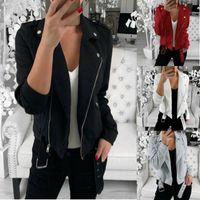 Women's Jackets Womens Autumn Winter Outwear Coat Zip Plus Size Bomber Jacket Ladies Classic Up Biker Quilted Tops