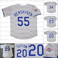 Jersey de béisbol retro 1988 Jerseys 2 Lasorda 23 Kirk Gibson 20 Don Sutton 55 Orel Hershiser 81 González Pujols