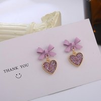 Dangle & Chandelier Cute Korean Earrings Heart Bling Zircon Stone Purple Bow Stud For Women Girls Fashion Jewelry 2021 Gift