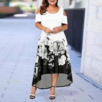 Casual Dresses Formal Dress Flower Print Irregular Hem Women Cold Sleeve Off Shoulder O Neck Streetwear