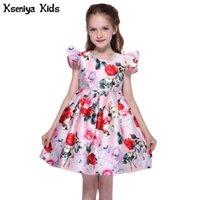 Vestidos de niña Kseniya niños grandes niñas grandes imprimir otoño invierno mariposa 2 capas niña princesa vestido cintas 2-10 años