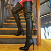 Boots Fashion Women's Sexy High Heel Long Pointed Toe Thin Heels Leather Shoes Over The Knee Botas De Mujer Nightclub Pump