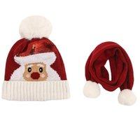 Beanies Q0KE Scarf Hat Set With Fringe Long Soft Warm Winter For Kids Christmas Santa Deer Pom Poms