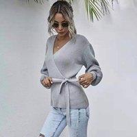 Women's Knits & Tees Crossed Breast Wrap Sweater For Women Fall 2021 V-neck Pull-back Waist Tie Knit Jacket