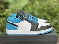 Auténtico 1 Low OG Láser Azul Hombres Zapatos Mujeres Black-White Universidad-Azul Deportes al aire libre Deporte Zapatillas de deporte con caja original US4-11