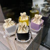 Mode neue Kinder Perle Kette Handtaschen Mädchen Süßigkeiten Messenger Bag Luxus Frauen Mini Square One-Shoulder Bags A6094
