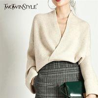 TwotWinstyle elegante camisola de tricô mulheres manga comprida v pescoço pulôver tops feminino casual moda knitwear maré outono lj201017