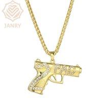 Charms Janry Nummer 2 PAC Brief Anhänger Halskette Micro-Inlaid Zirkon männlich Hip Hop Gold mit 76cm Kette