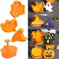 Cadılar bayramı Noel Süslemeleri Plastik Bisküvi Kesme Makinesi Tema Kabak Hayalet Çikolata Şeker Kalıp Kek Dekorasyon için 4 Parça. J0907
