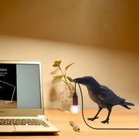 Table Lamps Lucky Bird Lamp Animal Bedroom Bedside Night Lighht Wall Light Aisle Restaurant Raven Home Decor Fixtures