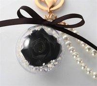 Preserved Rose Flower In Acrylic Ball Key Chain Immortal Flower Tassel Romantic Gift Valentine's Day Birthday1 LD60911