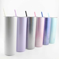 New 20oz Straight Barrel Flat Bottom Cup Golden Rainbow Paint Glass 600ml Stainless Steel Coffee With Straw Mug