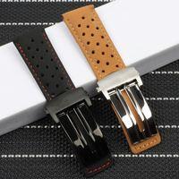 22 ملليمتر جلد watchband لتناسب th carrera سلسلة الرجال الفرقة ووتش حزام المعصم سوار الملحقات قابلة للطي مشبك