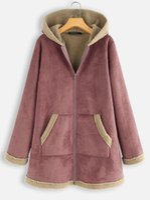 Women's Jackets Winter Patchwork Jacket Plus Velvet Deerskin Hooded Loose Coat Women Vintage Solid Casual Thicken Coats Zipper Overcoat