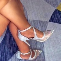 Dress Shoes Women Luxury Crystal Bridal High Heels Wedding Sexy Pointed Toe Ladies Pumps Cross Strappy Silver Stiletto Sandals
