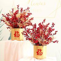 اكاليل الزهور الزخرفية 65 سنتيمتر الطويل الاصطناعي بيري الفروع وهمية الأحمر هولي فاكهة رغوة الأوراق الذهبية للعام الصيني الشتاء الجدول المنزل