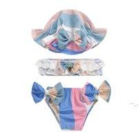 طفل الفتيات ملابس السباحة القوس بيكيني السراويل القصيرة مع قبعة الحمالة الأطفال ملابس الصيف ملابس الطفل التصاميم 3 قطعة / المجموعة BWC6558