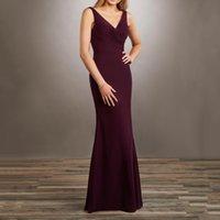 Dark Grape Bridesmaid Dress Mermaid Chiffon Wedding Party Gowns Deep V-Nack