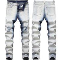 Jeans masculinos homem na moda calças rasgadas joelho buraco destruído quatro temporada longa calças plus size roupas
