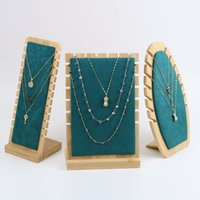 Jewelry Pouches, Bags Wooden Box Display Stand Rack For Necklace Earring Pendant Chain Holder Board Storage Shelf 3411 Q2