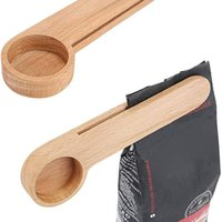 Colher de madeira colher de café com saco clipe colher de colher de sopa de madeira maciças de madeira colheres de chá colheres de feijão de chá preso hwe9042