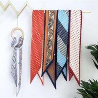 Scarves Luxury Silk Scarf Women Bag Skinny Constellation 2021 Design Wrist Towel Fashion Head Band Small Tie