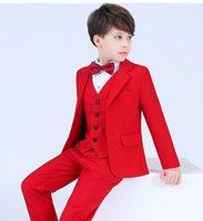 Handsome Boy's Formal Wear Tuxedos Notch Lapel Children Clothing For Wedding Party Kids Suit Boy Set (Jacket+Pants+Vest+Bow) K79