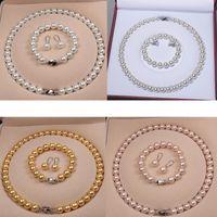 Высококачественные природные бусины из раковины Женщины Bridal Ожерелье Браслет и Серьги Свадебные Ювелирные Изделия Наборы 5 Стилей для выбора
