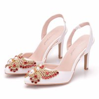 Dress Shoes Bride shoes with high platform, women's party in heels, red, strass, ten centimeters, for brides and bridesmaids EKUP