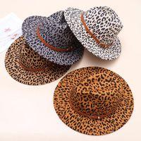 Широкие шляпы Brim 1 шт. 1 шт. Женская мода шерсть Федорас с пряжкой ремень Панама шляпа винтажный леопардовый печать Fedora