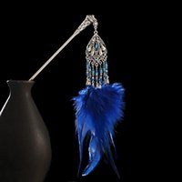 Hair Clips & Barrettes Vintage Gypsy Chinese Style Sticks Women Blue Feather Tassel Silver Color Hairpins Nice Ethnic Jewelry Accessories Gi