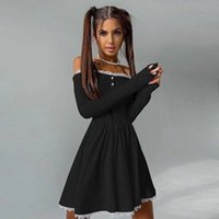 women fashion autumn lace edge knitted dress long-sleeved square shoulder tight skirt Single-row buckle clothing