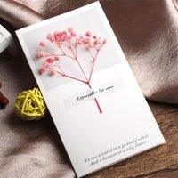 Цветы поздравительные открытки Гипсофила сушеные рукописные благословение поздравительные открытки на день рождения подарочные карты свадебные приглашения DHL 101 v2