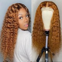 Long Curly Frontal Wig Brazilian Human Hair Light Brown Color Synthetic Lace Front Wigs For Black Women 180 Density