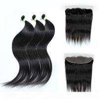 30 36 40 дюймов прямые 13x4 человеческие волосы 3 4 пучка с лобовыми перуанскими реми наращивание волос наращивание волос кружевное закрытие для женщин ткани