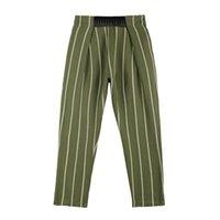 Плиссированные упругие талии полосатый костюм брюки мужские женщины прямые хип-хоп стиль негабаритных случайных брюк