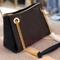 43776 Surène Bb Bag Última cadena liviana Diseño adornado con adornos de oro Hardware de color Damas de lona recubierta de lona de cuero con grano