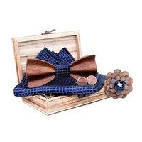 العلاقات القوس الأزياء زيبرا 3d خشبية التعادل للرجال للجنسين منحوتة الرجعية الرقبة خمر البحرية الأزرق ربطة منديل بروش بروش